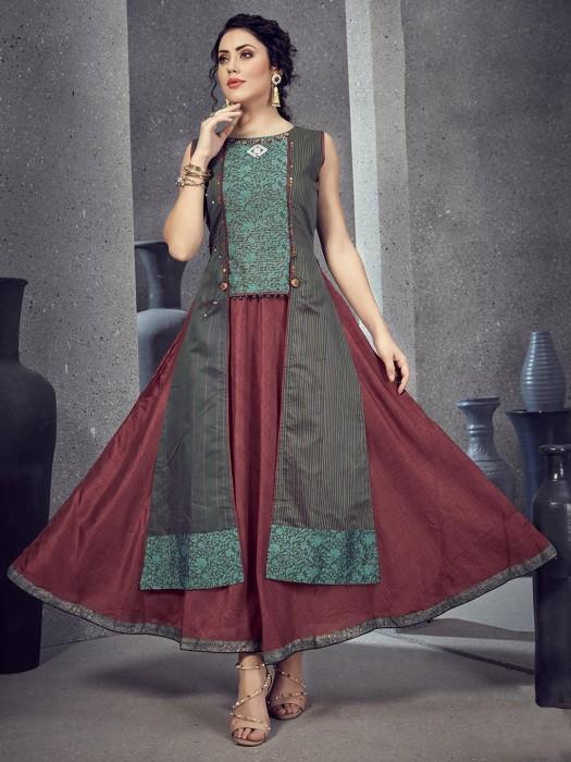 Green Printed Festive Wear Cotton Silk Kurti