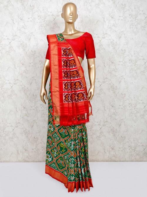 Green Saree For Reception In Hydrabadi Patola Silk