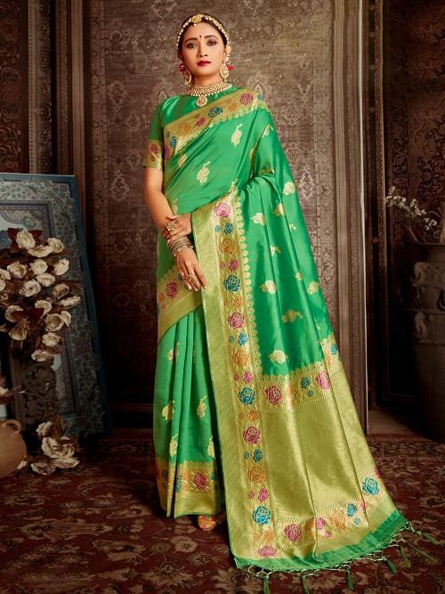 Green Saree For Reception Session In Handloom Banarasi Silk