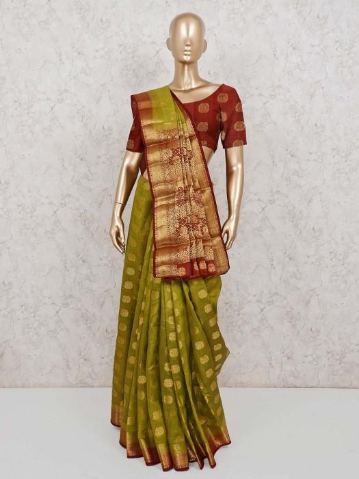 Green Semi Cotton Silk Saree For Festival