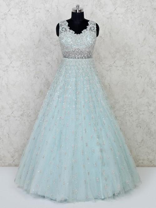 Green Wedding Wear Floor Length Designer Gown