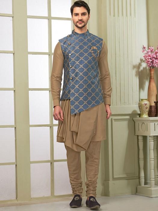 Grey And Beige Hue Raw Silk Festive Wear Waistcoat Set
