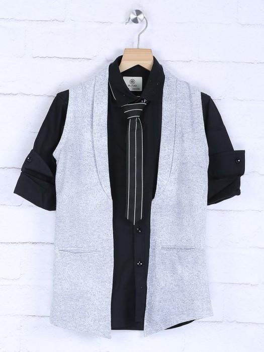 Grey And Black Color Cotton Waistcoat Shirt