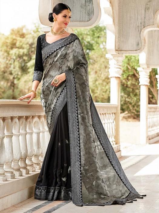 Grey And Black Wonderful Saree In Semi Silk