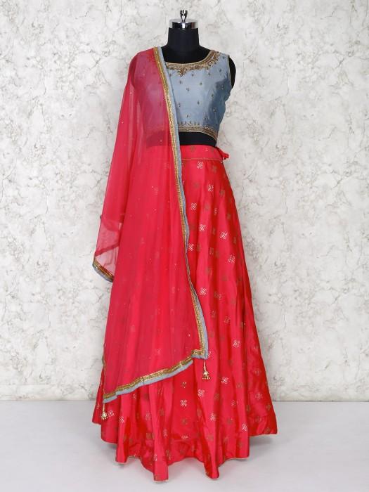 Grey And Bright Pink Cotton Silk Lehenga Choli