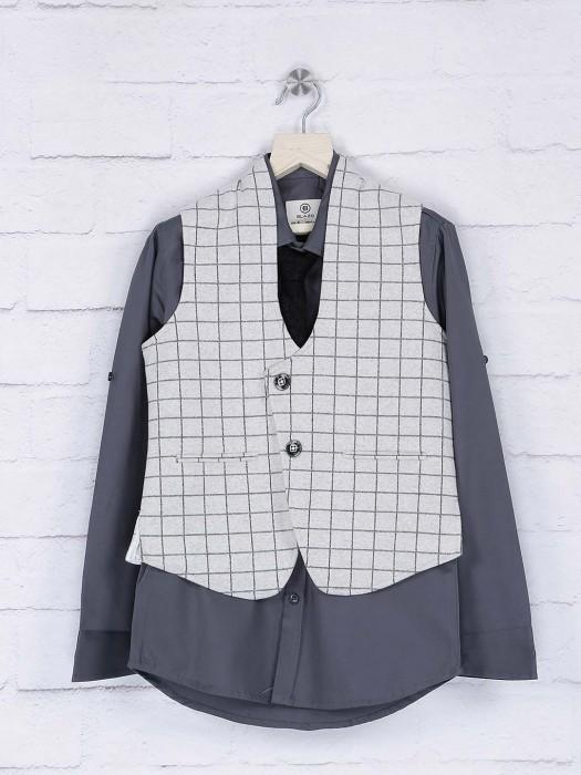 Grey And Cream Hue Terry Rayon Waistcoat Shirt