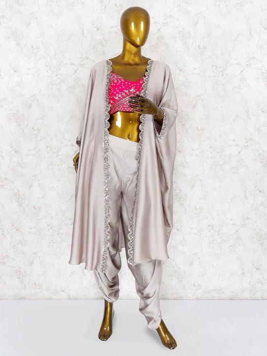 Grey And Magenta Hue Satin Dhoti Suit
