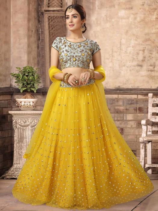 Grey And Yellow Net Lehenga Choli For Wedding