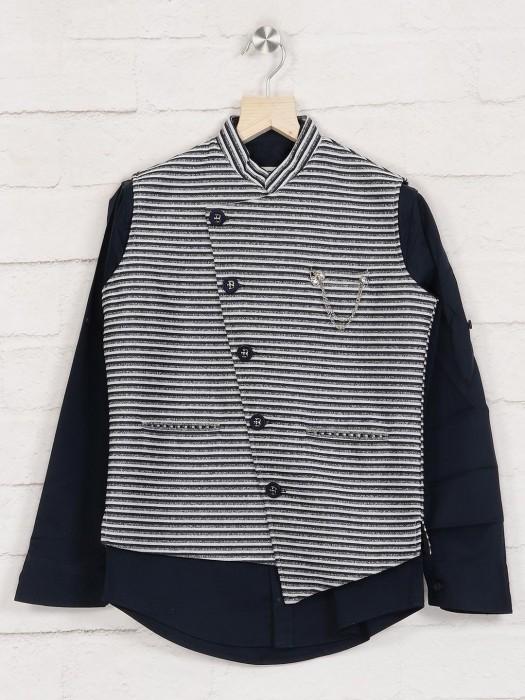 Grey Blue Stripe Terry Rayon Waistcoat Shirt