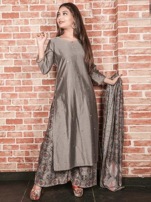 Grey Color Casual Wear Cotton Silk Punjabi Palazzo Suit