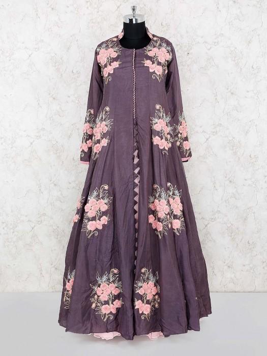 Grey Color Cotton Silk Fabric Floor Length Anarkali Salwar Suit