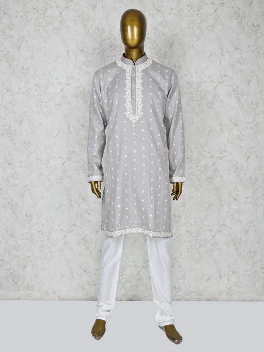 Grey Color Cotton Silk Stand Collar Kurta Suit