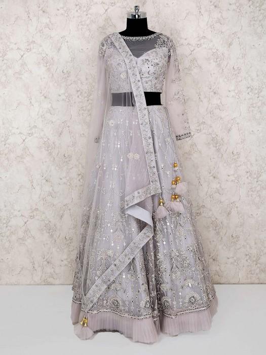 Grey Color Net Fabric Party Lehenga Choli