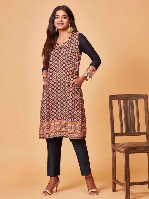 Grey Color Pure Raw Silk Punjabi Salwar Suit