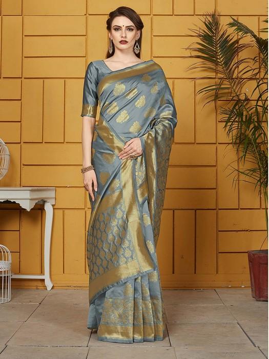 Grey Color Silk Saree For Wedding