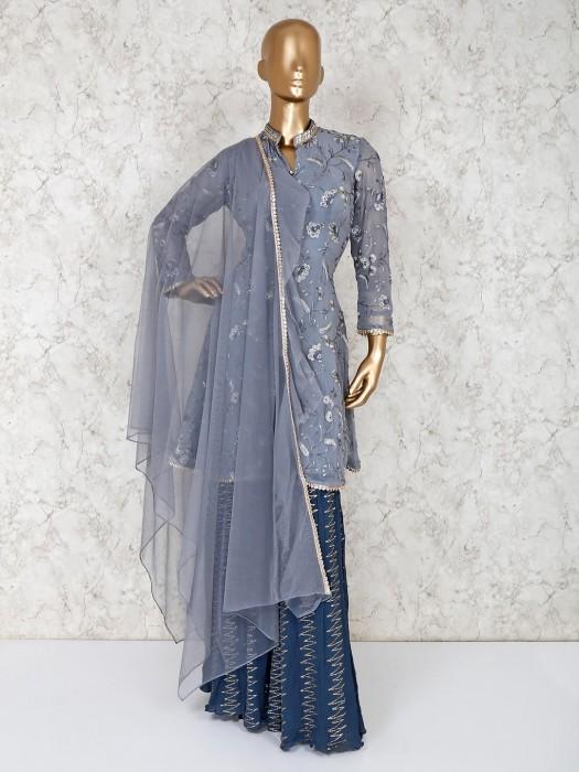 Grey Colour Punjabi Suit In Georgette