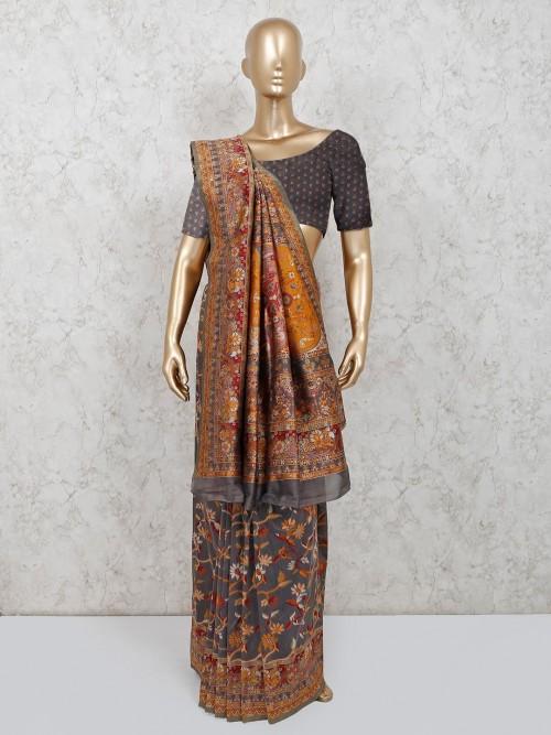 Grey Cotton Printed Saree For Wedding