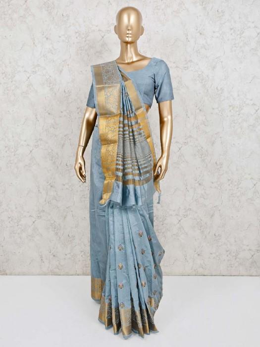 Grey Cotton Silk Saree With Unstitched Blouse Piece