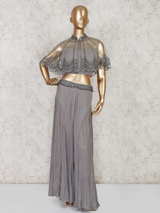 Grey Designer Indo Western Georgette Sharara Suit