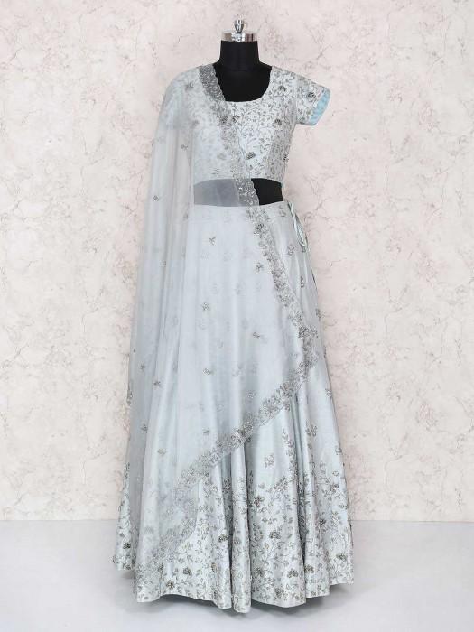 Grey Designer Party Wear Lehenga Choli