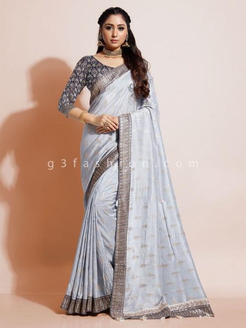 Grey Dola Silk Wedding Wear Saree
