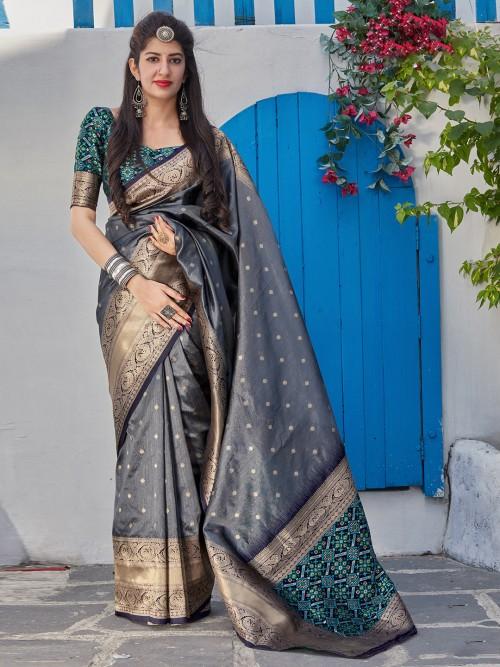 Grey Festive Occasion Saree In Semi Silk