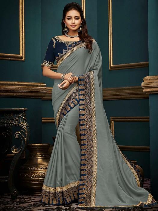 Grey Hue Amazing Cotton Silk Fabric Saree