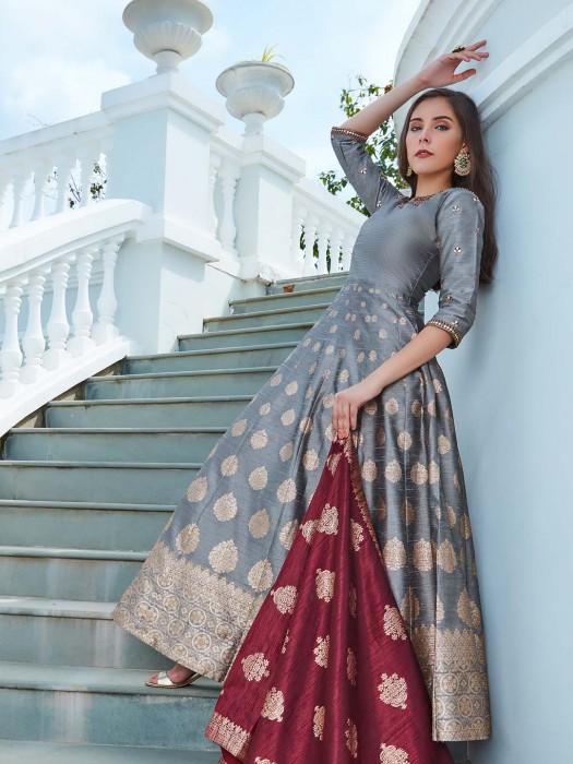 Grey Hue Anarkali Suit In Raw Silk Fabric