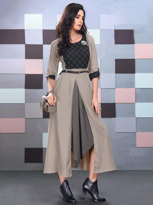 Grey Hue Cotton Fabric Festive Function Kurti