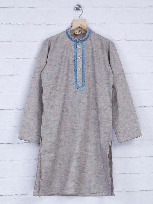 Grey Hue Cotton Festive Kurta Suit
