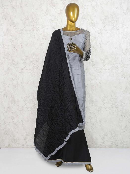 Grey Hue Cotton Silk Festive Punjabi Palazzo Suit