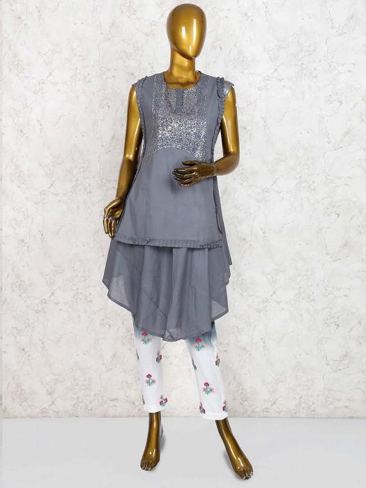 Grey Hue Festive Georgette Designer Salwar Suit
