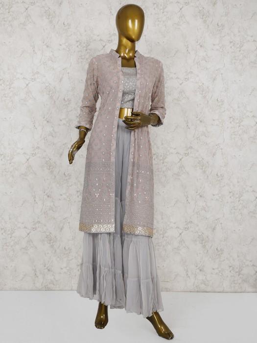 Grey Hue Georgette Jacket Style Sharara Suit