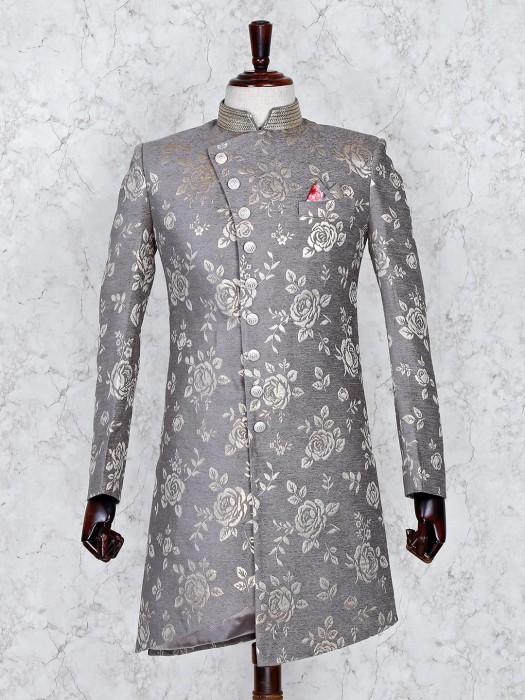 Grey Hue Party Wear Zari Weaving Indo Western