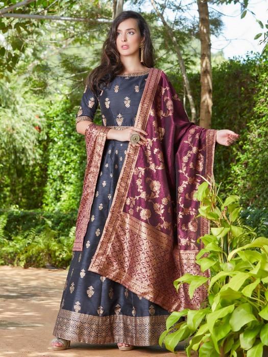 Grey Hue Raw Silk Fabric Floor Length Anarkali Suit