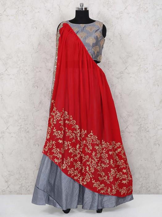 Grey Hue Raw Silk Festive Wear Lehenga Choli