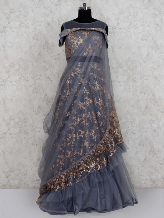 Grey Hue Ruffle Gown In Net