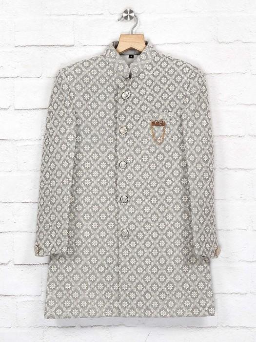 Grey Hue Silk Fabric Chinese Neck Indo Western