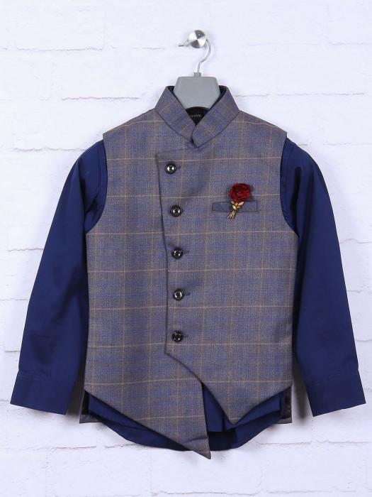 Grey Hued Terry Rayon Fabric Waistcoat