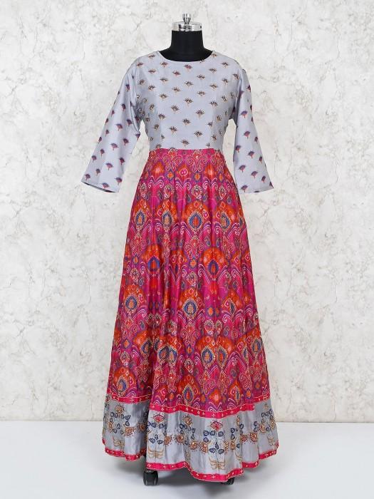Grey Magenta Cotton Silk Festive Anarkali Suit
