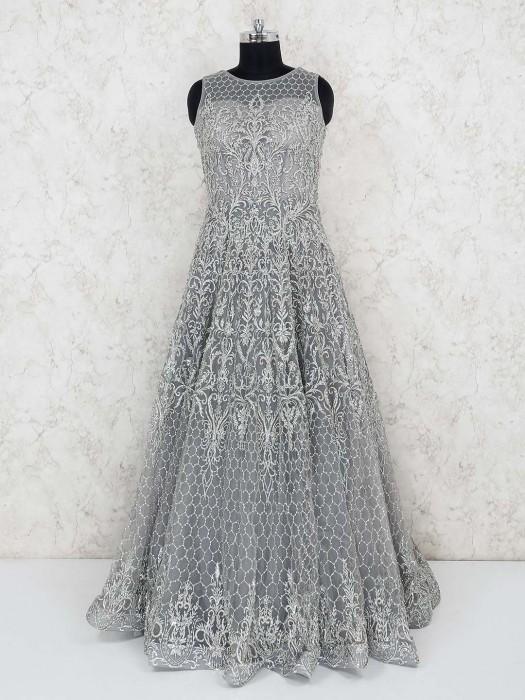 Grey Net Floor Length Party Gown