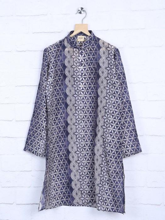 Grey Printed Cotton Fabric Kurta Suit