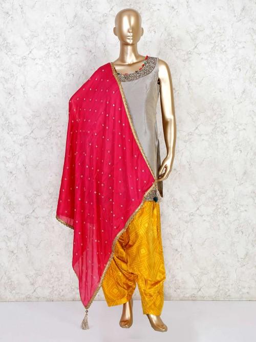 Grey Raw Silk Festive Punjabi Patiala Suit