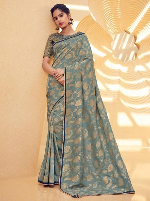 Grey Saree With Designer Blouse In Cotton Silk