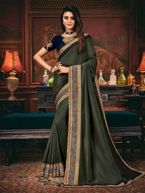 Grey Satin Silk Wedding Wear Saree