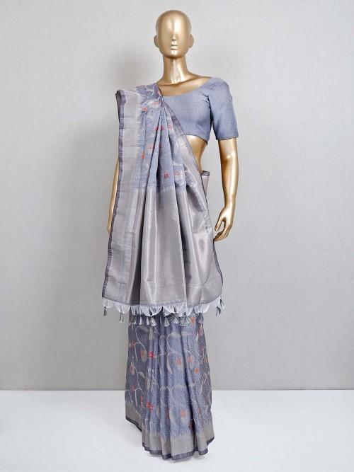 Grey Semi Banarasi Silk Saree For Festive