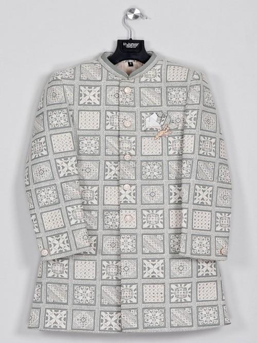 Grey Silk Party Wear Indo Western For Boys