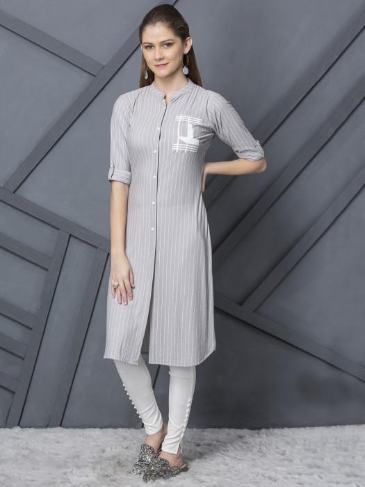 Grey Stripe Cotton  Kurti For Casual Occasion