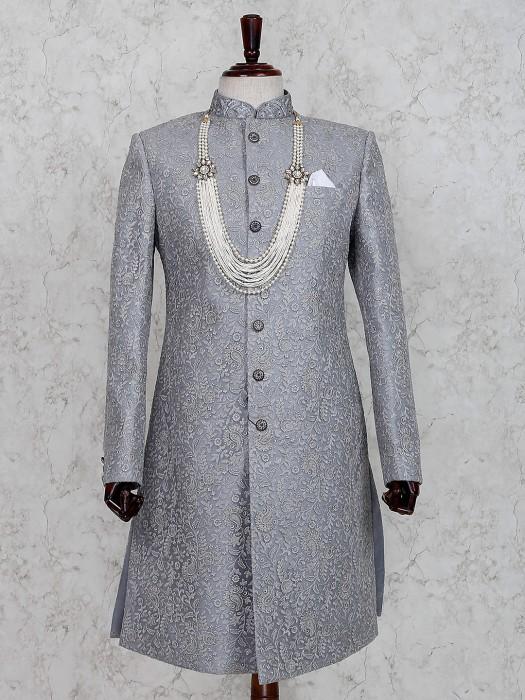 Grey Terry Rayon Wedding Occasion Indo Western