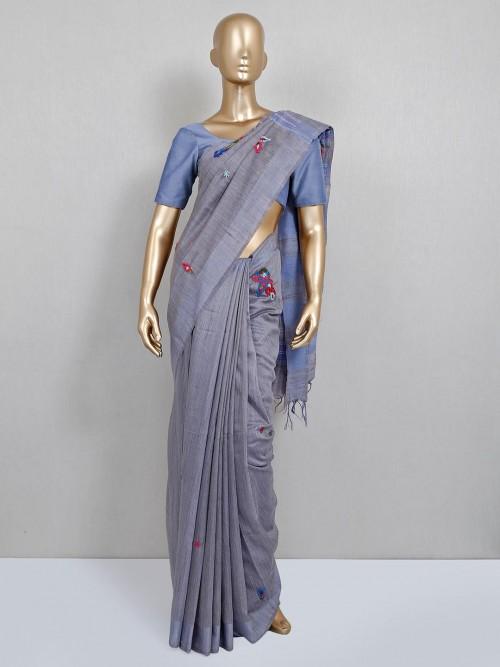Grey Thread Embrodered Handloom Cotton Saree